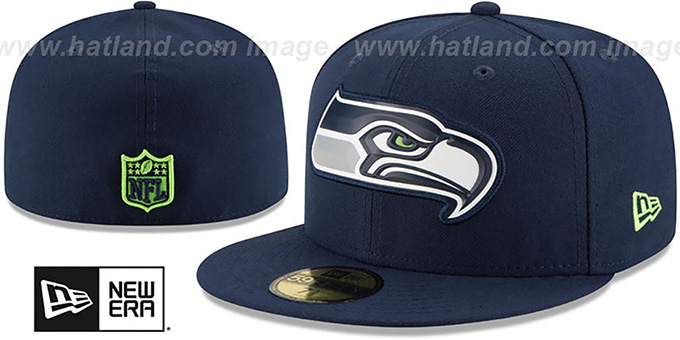 Seahawks 'BEVEL' Navy Fitted Hat by New Era : pictured without stickers that these products are shipped with