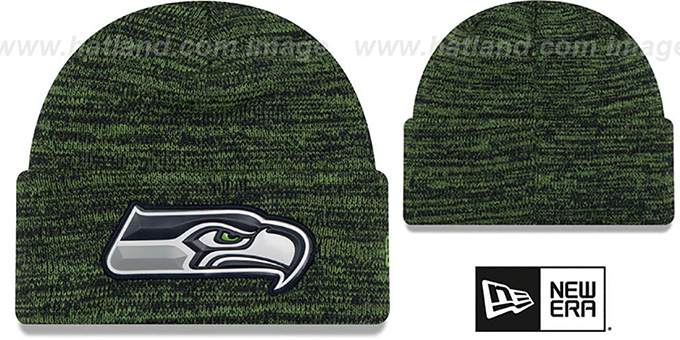 Seahawks 'BEVEL' Navy-Lime Knit Beanie Hat by New Era : pictured without stickers that these products are shipped with
