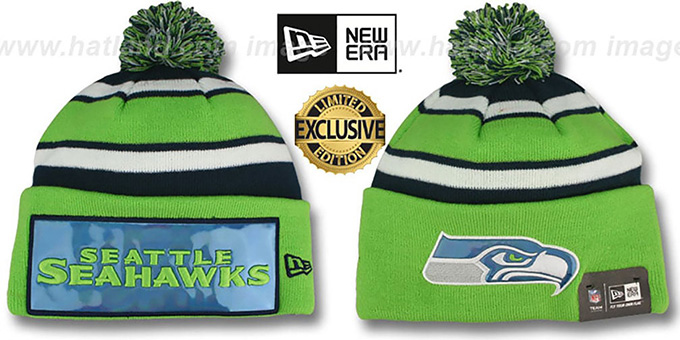Seahawks 'BIG-SCREEN' Knit Beanie Hat by New Era : pictured without stickers that these products are shipped with