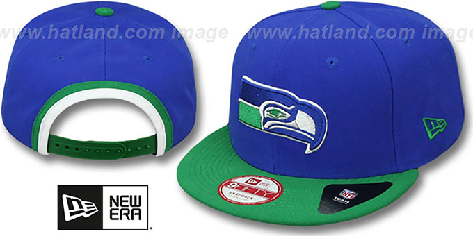 Seahawks 'BINDBACK TB SNAPBACK' Royal-Green Hat by New Era : pictured without stickers that these products are shipped with