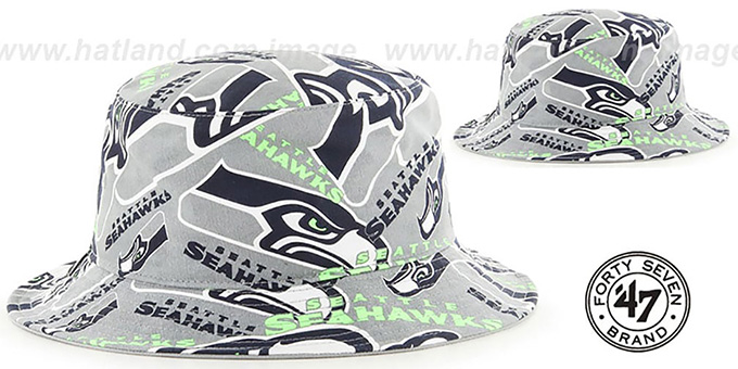 Seahawks 'BRAVADO BUCKET' Hat by Twins 47 Brand : pictured without stickers that these products are shipped with