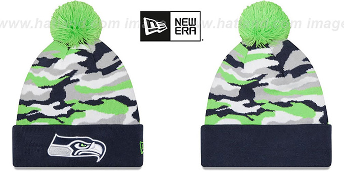 Seahawks 'CAMO CAPTIVATE' Knit Beanie Hat by New Era : pictured without stickers that these products are shipped with