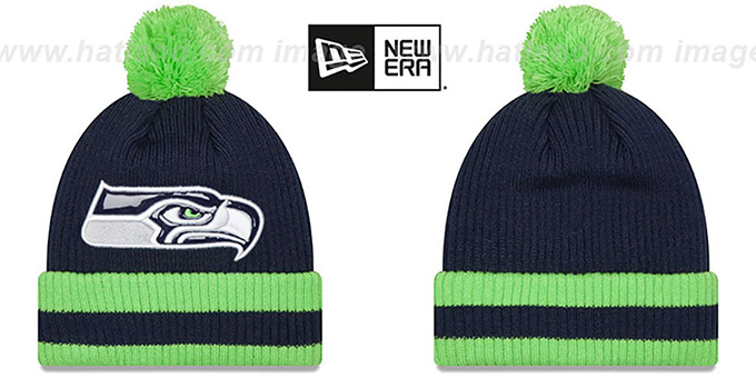 Seahawks 'CHILLER FILLER BEANIE' Navy-Lime by New Era : pictured without stickers that these products are shipped with