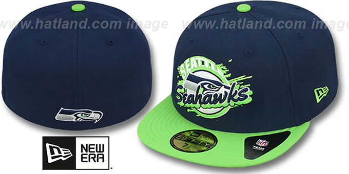 Seahawks 'CIRCLE CIRCUIT' Navy-Lime Fitted Hat by New Era : pictured without stickers that these products are shipped with