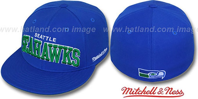 Seahawks 'CLASSIC-ARCH' Royal Fitted Hat by Mitchell & Ness : pictured without stickers that these products are shipped with