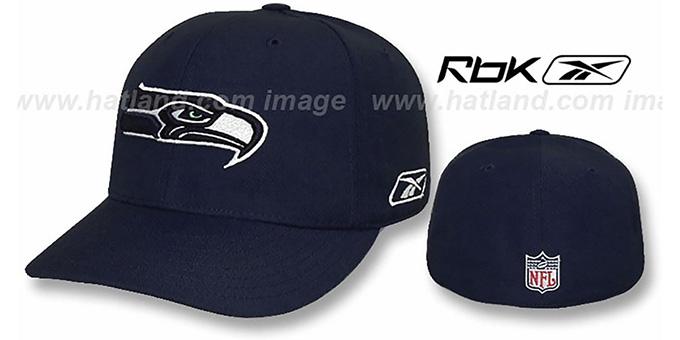 Seahawks 'COACHES' Fitted Hat by Reebok - navy : pictured without stickers that these products are shipped with