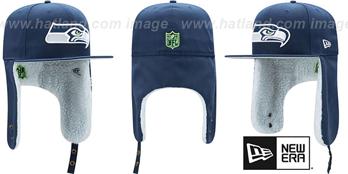 Seahawks 'FLURRY-FIT DOGEAR' Navy Fitted Hat by New Era : pictured without stickers that these products are shipped with