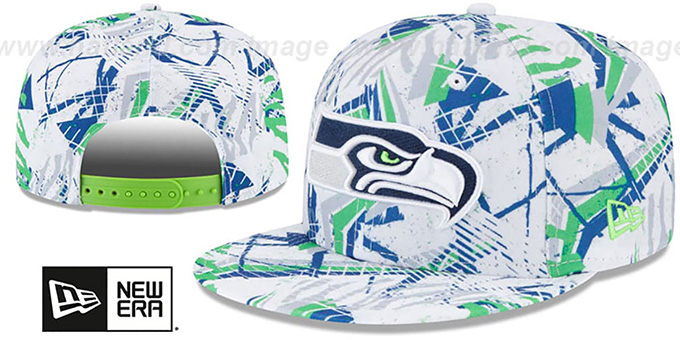 Seahawks 'GEOMET TRICK SNAPBACK' Hat by New Era : pictured without stickers that these products are shipped with