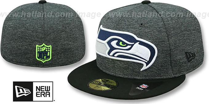 Seahawks 'HEATHER-HUGE' Grey-Black Fitted Hat by New Era : pictured without stickers that these products are shipped with