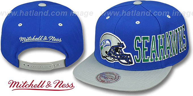 Seahawks 'HELMET-WORDWRAP SNAPBACK' Royal-Grey Hat by Mitchell and Ness : pictured without stickers that these products are shipped with