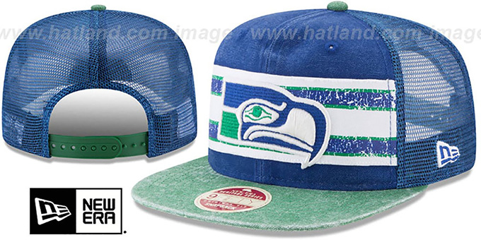 cc4fa3df4 Seattle Seahawks HERITAGE-STRIPE SNAPBACK Royal-Green Hat by New Era