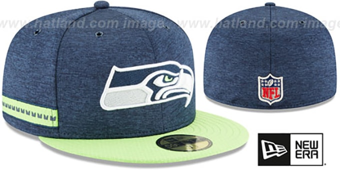 9eef0664 Seattle Seahawks HOME ONFIELD STADIUM Navy-Lime Fitted Hat by New Era