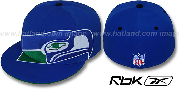Seahawks 'INVINCIBLE' Fitted Hat by Reebok - royal : pictured without stickers that these products are shipped with