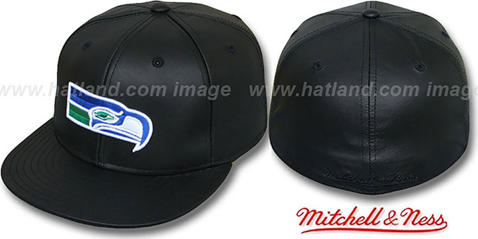 Seahawks 'LEATHER THROWBACK' Fitted Hat by Mitchell and Ness : pictured without stickers that these products are shipped with