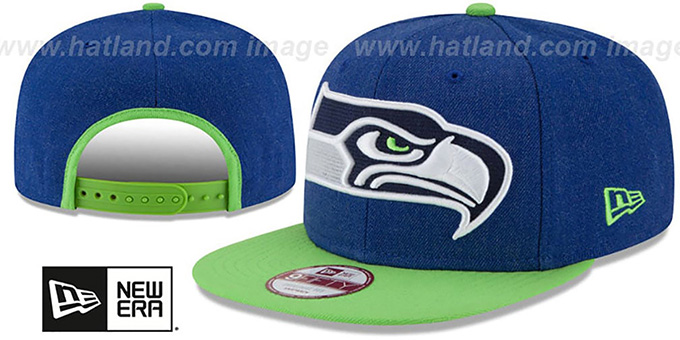 Seahawks 'LOGO GRAND SNAPBACK' Royal-Lime Hat by New Era : pictured without stickers that these products are shipped with