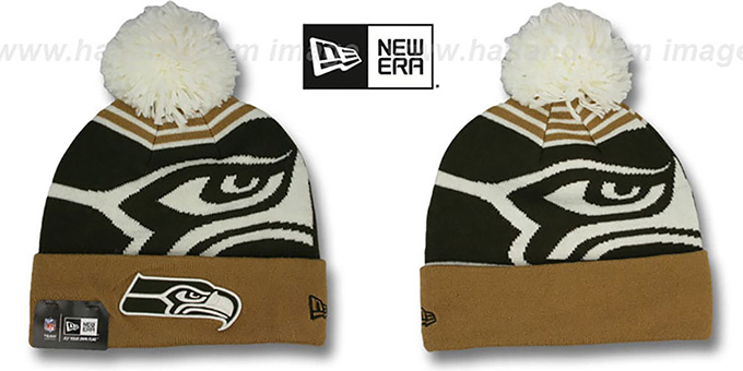 Seahawks 'LOGO WHIZ' Brown-Wheat Knit Beanie Hat by New Era : pictured without stickers that these products are shipped with