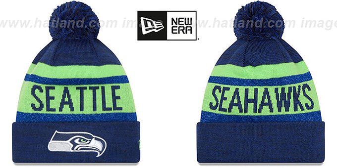 Seahawks 'METALLIC STRIPE' Navy-Lime Knit Beanie Hat by New Era : pictured without stickers that these products are shipped with