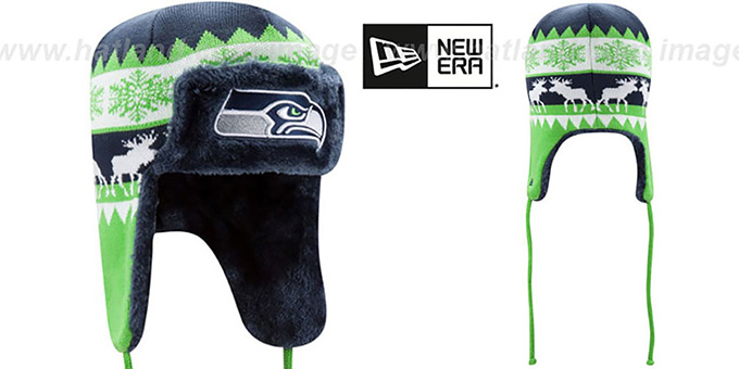 Seahawks 'MOOSER TRAPPER' Navy-Lime Knit Hat by New Era : pictured without stickers that these products are shipped with