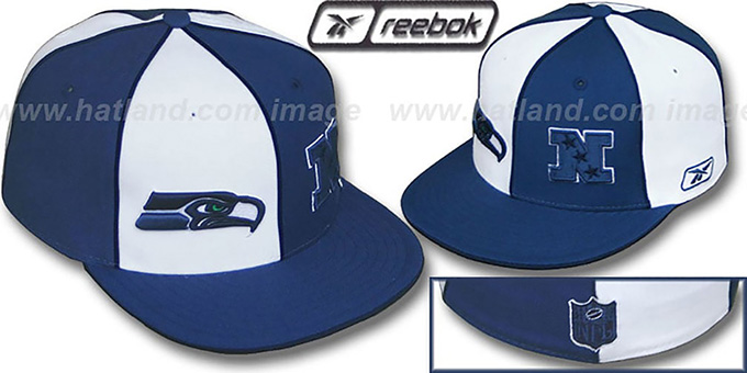 Seahawks 'NFC DOUBLE LOGO' White-Slate Fitted Hat by Reebok : pictured without stickers that these products are shipped with