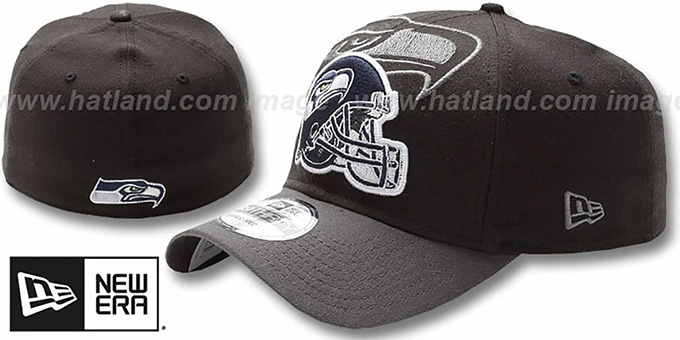 Seahawks 'NFL BLACK-CLASSIC FLEX' Hat by New Era : pictured without stickers that these products are shipped with