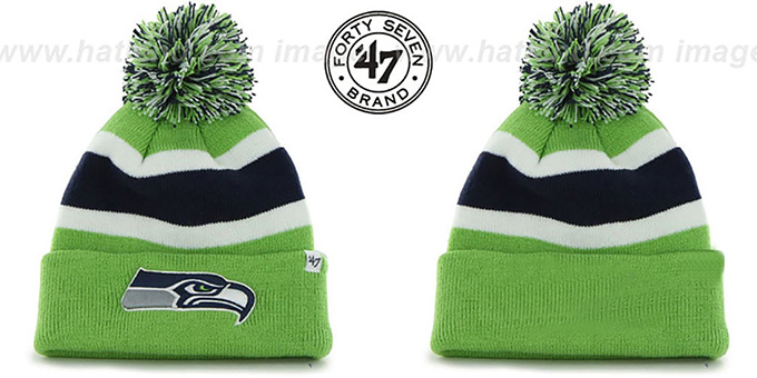 Seahawks 'NFL BREAKAWAY' Lime Knit Beanie Hat by 47 Brand : pictured without stickers that these products are shipped with