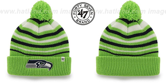 Seahawks NFL 'INCLINE' Knit Beanie Hat by 47 Brand : pictured without stickers that these products are shipped with