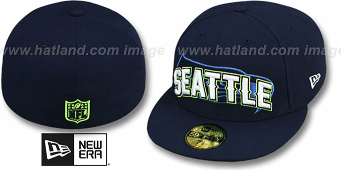Seahawks 'NFL ONFIELD DRAFT' Navy Fitted Hat by New Era : pictured without stickers that these products are shipped with