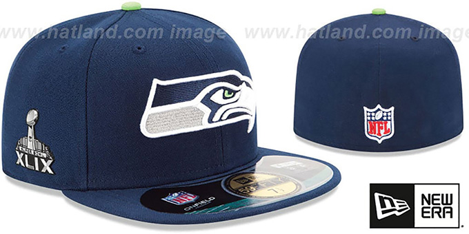 Seahawks 'NFL SUPER BOWL XLIX ONFIELD' Navy Fitted Hat by New Era : pictured without stickers that these products are shipped with