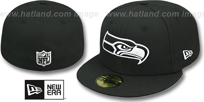 Seahawks 'NFL TEAM-BASIC' Black-White Fitted Hat by New Era : pictured without stickers that these products are shipped with