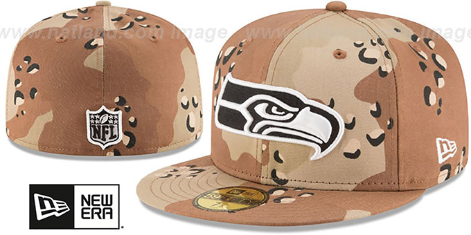 Seahawks 'NFL TEAM-BASIC' Desert Storm Camo Fitted Hat by New Era : pictured without stickers that these products are shipped with