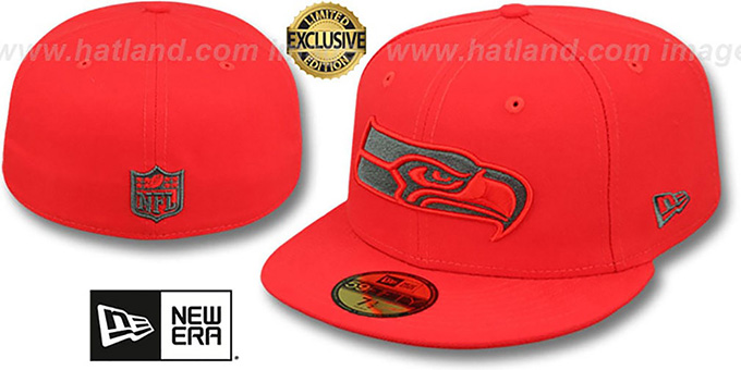 Seahawks 'NFL TEAM-BASIC' Fire Red-Charcoal Fitted Hat by New Era : pictured without stickers that these products are shipped with