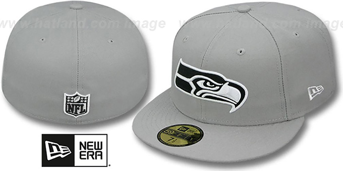 Seahawks 'NFL TEAM-BASIC' Grey-Black-White Fitted Hat by New Era : pictured without stickers that these products are shipped with
