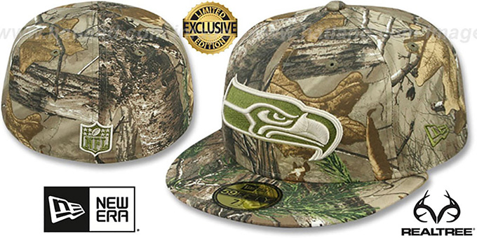 Seahawks 'NFL TEAM-BASIC' Realtree Camo Fitted Hat by New Era : pictured without stickers that these products are shipped with