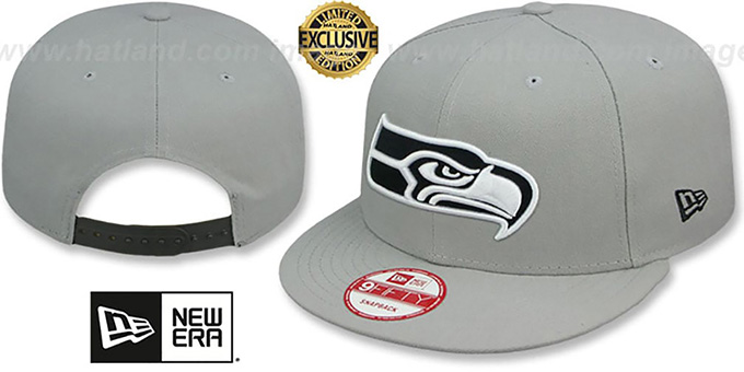 Seahawks 'NFL TEAM-BASIC SNAPBACK' Grey-Black Hat by New Era : pictured without stickers that these products are shipped with