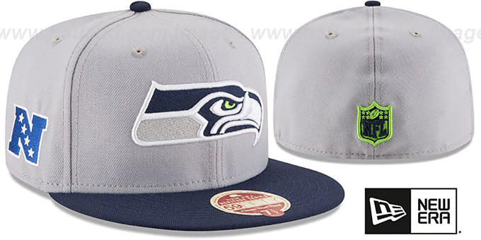 Seahawks 'NFL WOOL-STANDARD' Grey-Navy Fitted Hat by New Era : pictured without stickers that these products are shipped with