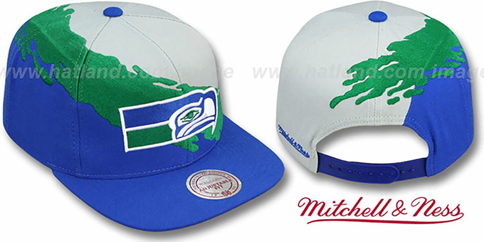 Seahawks 'PAINTBRUSH SNAPBACK' Grey-Green-Royal Hat by Mitchell and Ness : pictured without stickers that these products are shipped with