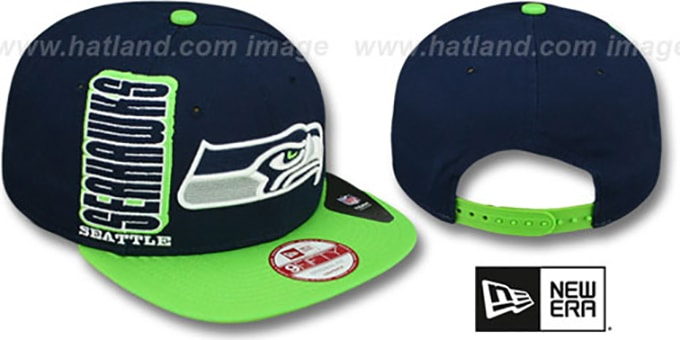 Seahawks 'RALLYMARK SNAPBACK' Navy-Green Hat by New Era : pictured without stickers that these products are shipped with