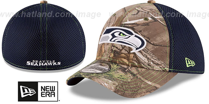 Seahawks 'REALTREE NEO MESH-BACK' Flex Hat by New Era : pictured without stickers that these products are shipped with