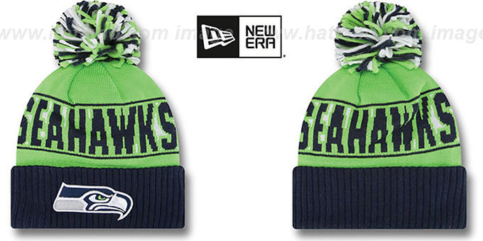 Seahawks 'REP-UR-TEAM' Knit Beanie Hat by New Era : pictured without stickers that these products are shipped with