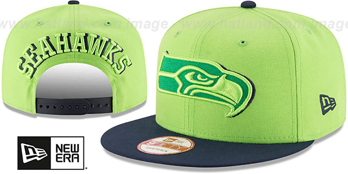 Seahawks 'SHADOW SLICE SNAPBACK' Lime-Navy Hat by New Era : pictured without stickers that these products are shipped with