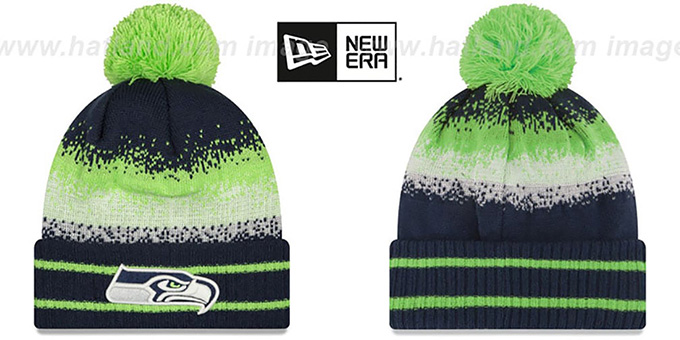Seahawks 'SPEC-BLEND' Knit Beanie Hat by New Era : pictured without stickers that these products are shipped with