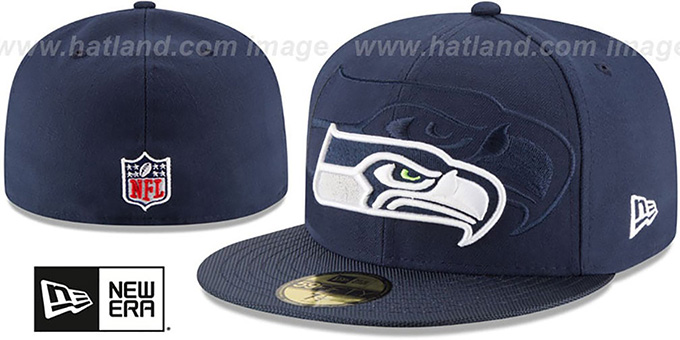 Seahawks 'STADIUM SHADOW' Navy Fitted Hat by New Era : pictured without stickers that these products are shipped with