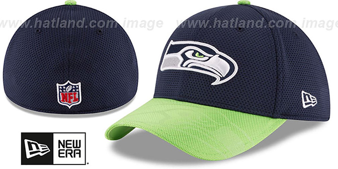 Seahawks 'STADIUM TRAINING FLEX' Navy-Lime Hat by New Era : pictured without stickers that these products are shipped with