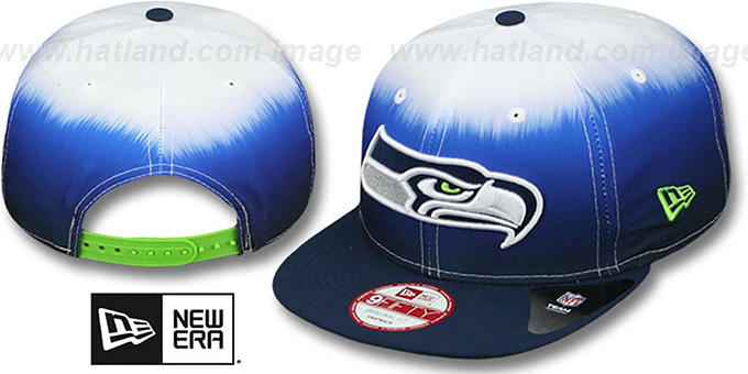 Seahawks 'SUBLENDER SNAPBACK' Navy-White Hat by New Era : pictured without stickers that these products are shipped with