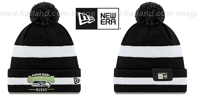 Seahawks 'SUPER BOWL XLVIII CHAMPS ' Black-White Knit Beanie Hat by New Era : pictured without stickers that these products are shipped with