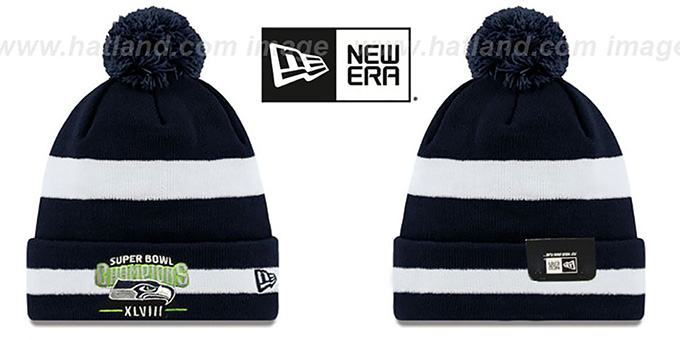 Seahawks 'SUPER BOWL XLVIII CHAMPS ' Navy-White Knit Beanie Hat by New Era : pictured without stickers that these products are shipped with