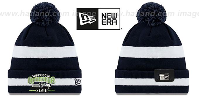 Seahawks  SUPER BOWL XLVIII CHAMPS   Navy-White Knit Beanie Hat by New Era 594bdce72