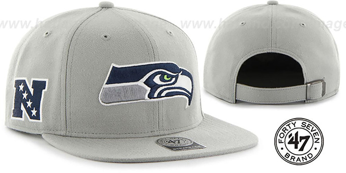 Seahawks 'SUPER-SHOT STRAPBACK' Grey Hat by Twins 47 Brand : pictured without stickers that these products are shipped with