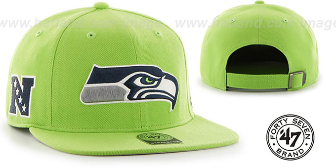 Seahawks 'SUPER-SHOT STRAPBACK' Lime Hat by Twins 47 Brand : pictured without stickers that these products are shipped with