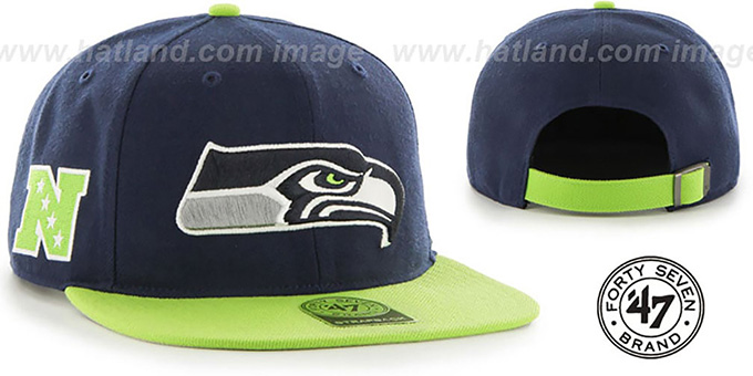 Seahawks 'SUPER-SHOT STRAPBACK' Navy-Lime Hat by Twins 47 Brand : pictured without stickers that these products are shipped with
